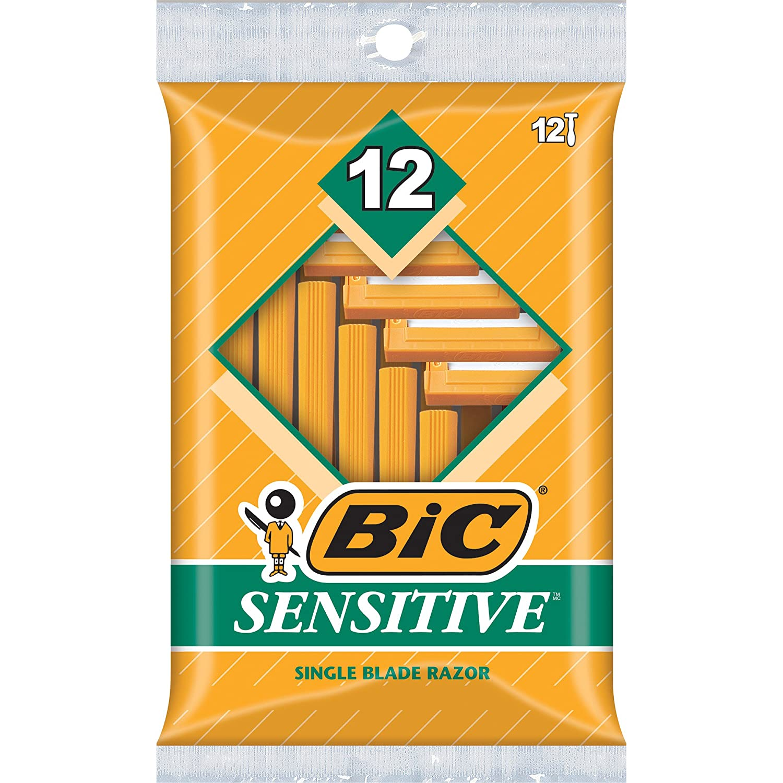BIC Single Blade Razor, Sensitive, 12 ct