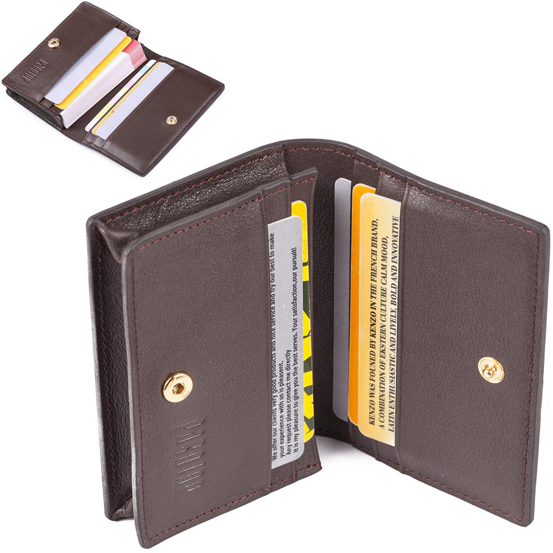 Business Card Case Slim Leather Bifold Card WAllet Credit Card Holder Exquisite Bronze by PABOJOE