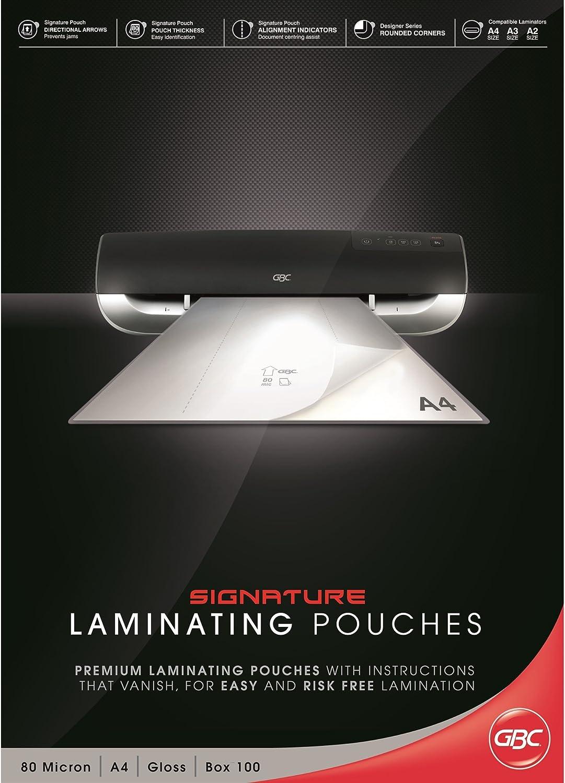 2 x 80 Micron IB583032 GBC Buste Pouch Lucide per Plastificazione A3 Confezione da 100