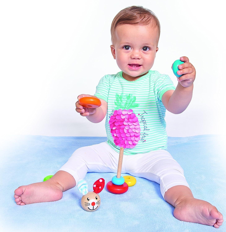 Baby Steckfigur mit Hasenmotiv 18cm FSC 100/% Zertifiziertes Buchenholz Made in Germany Simba Toys Für Babys ab 12 Monaten Non Books Non Books // Spielzeug 6 Ringe mit Steckkopf Eichhorn 100017019