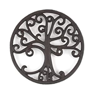 gasaré, Cast Iron Trivet, Decorative Tree of Life Design, for Hot Dishes, Pots, Kitchen, Countertop, Dining Table, with Rubber Feet Caps, Solid Cast Iron, 8 Inch Large, Rustic Brown Finish, 1 Unit