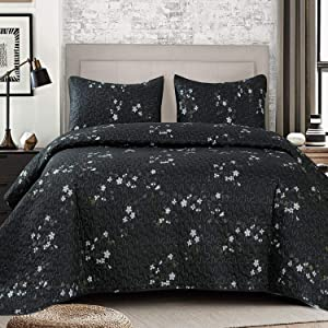 Exclusivo Mezcla Microfiber Queen Size Quilt Set for All Seasons, 3 Piece Flower Pattern Bedspread/Coverlet/Bedding Set with 2 Shams, Lightweight and Soft, (96
