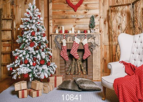 Sjoloon 7x5ft Christmas Backdrops For Photography Christmas Tree And Gift Socks Fireplace Children Photo Background Studio 10841