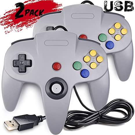 2 Pack Classic N64 Controller, iNNEXT N64 Wired USB PC Game pad Joystick,  N64 Bit USB Wired Game stick Joy pad Controller for Windows PC MAC Linux