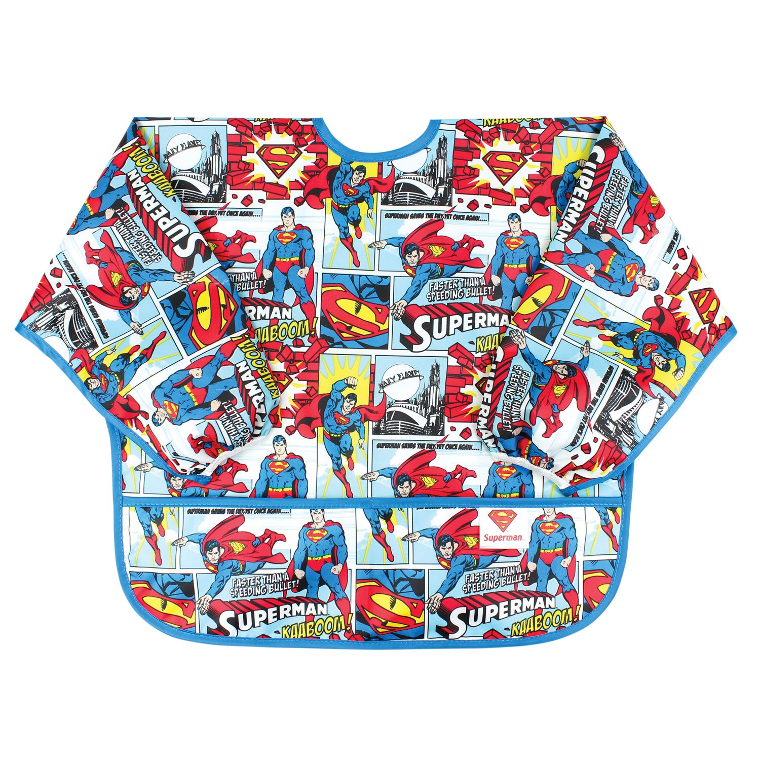 Bumkins DC Comics Sleeved Bib, Polyester, Superman Comic, One Size SU-WBSM10