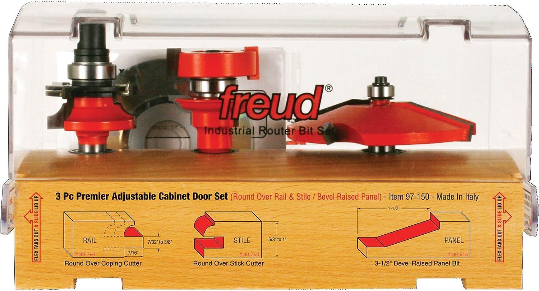 """Freud 3 Piece Premier Adjustable Cabinet Bit Set (1/2"""" Shank) (97-150)"""