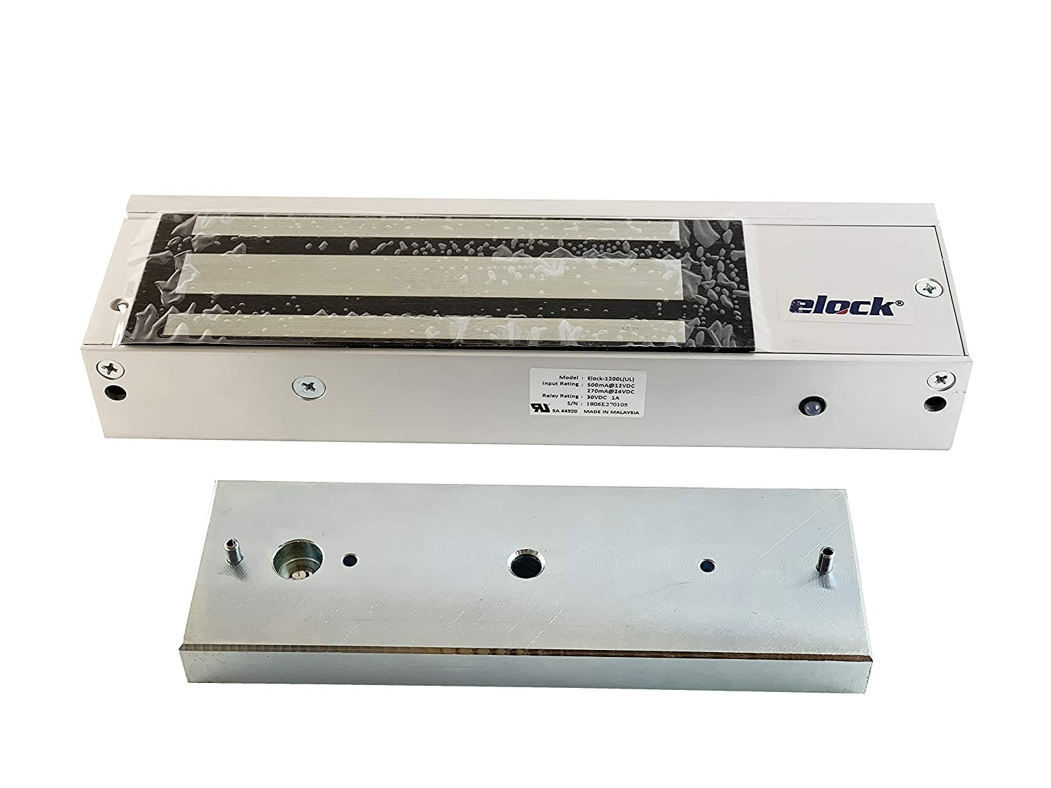 UL Certified Elock 1200 lbs MagLock//Electromagnetic Lock with LED Holding Force for Access Control 12//24VDC Kyodensha Technologies Sdn Bhd M
