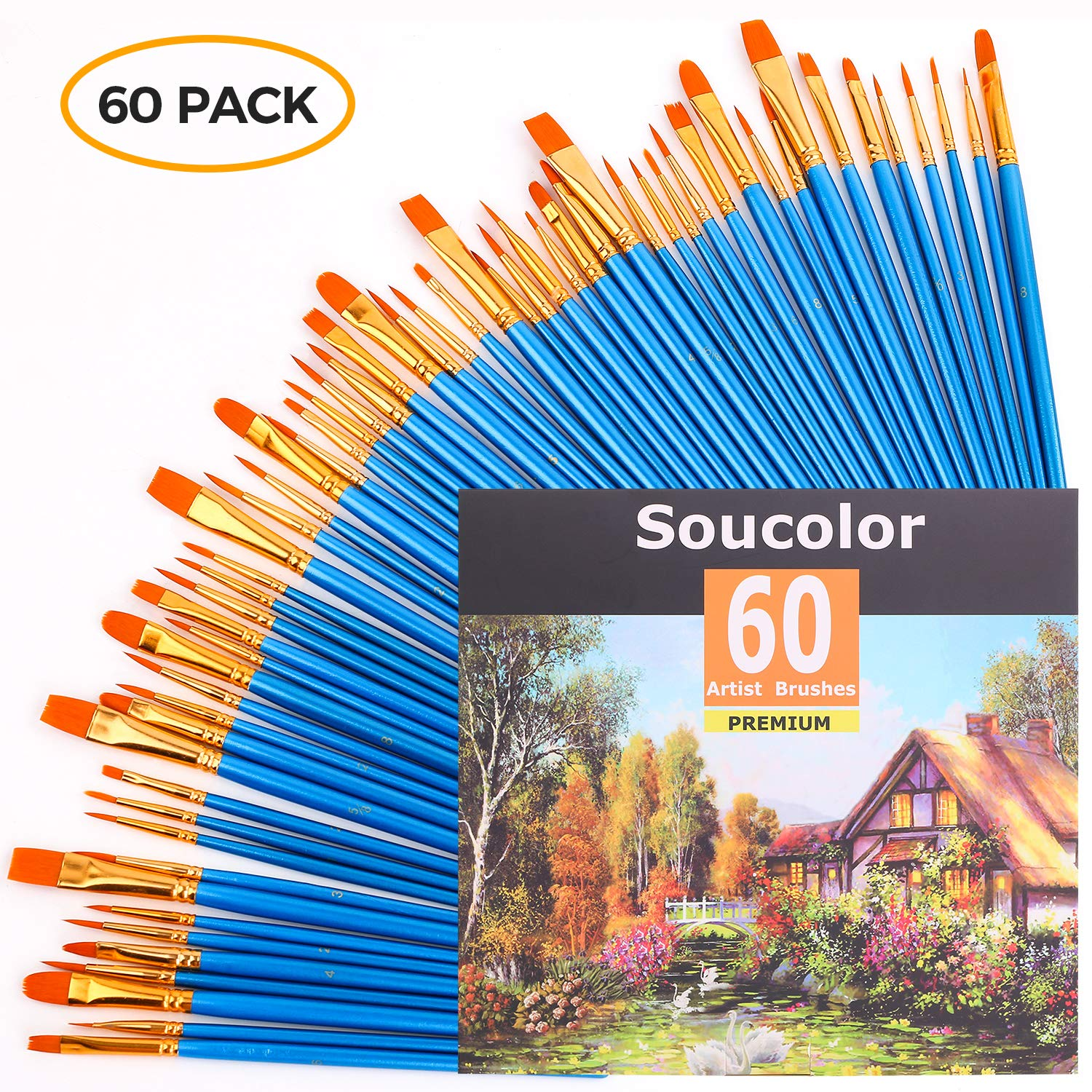 Acrylic Paint Brush Set, 6 packs/60pcs Nylon Hair Brushes for All Purpose Oil Watercolor Painting Artist Professional Kits Soucolor