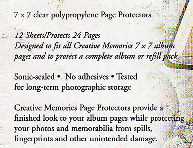 Creative Memories 7x7 PAGE PROTECTORS Set of 2 total of 24 pages Brand New