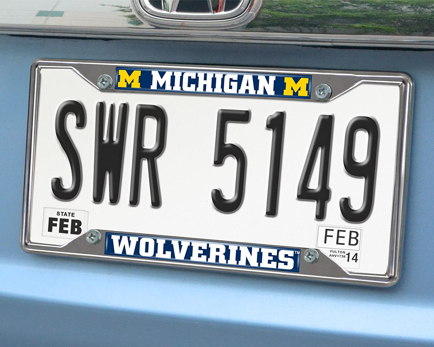 FANMATS 14823 NCAA University of Michigan Wolverines Chrome License Plate Frame 6.25x12.25