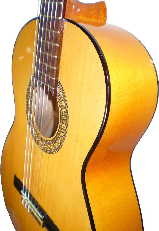 MARCE FLAMENCO 1 - Guitarra Clasica española de estudio (caja armónica de sicomoro, diapasón madera tintado, dos perfiles tintados en negro, acción baja. Tamaño adulto)