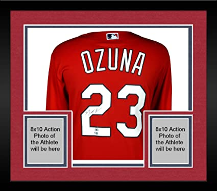on sale cbc48 49382 Framed Marcell Ozuna St. Louis Cardinals Autographed ...