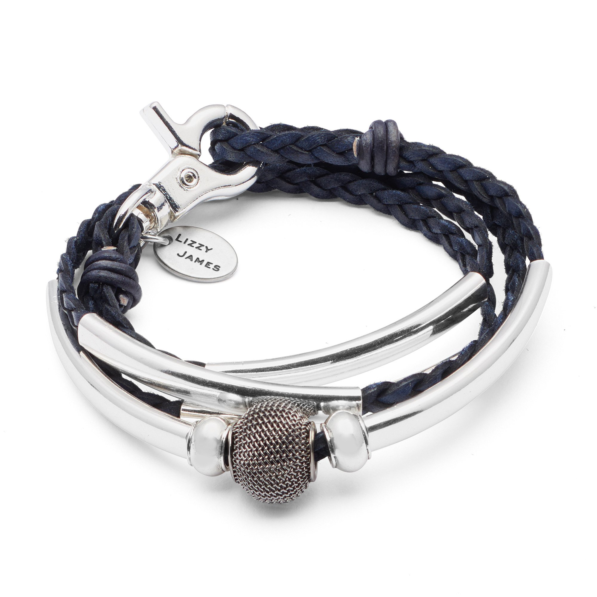 Mini Morgan Braided Leather and Silverplate Wrap Bracelet in Pacific Dark Blue Leather (XXLarge)