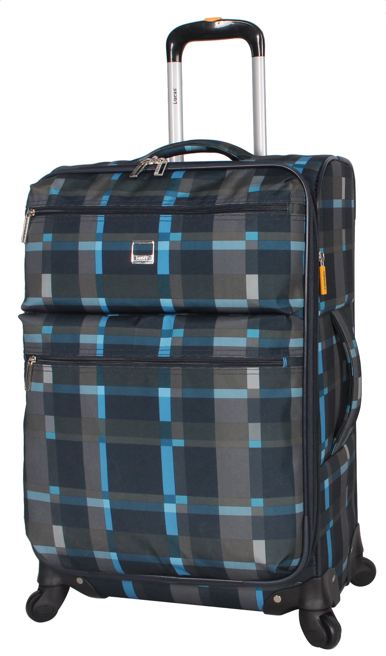 Lucas Luggage Ultra Lightweight Carry On 20 inch Expandable Suitcase With Spinner Wheels (20in, Old School Navy)