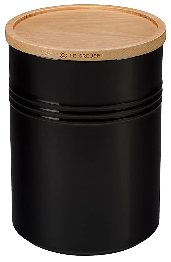 "Le Creuset Stoneware 4"" Canister with Wood Lid, 22 oz, Black"