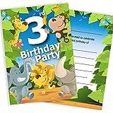 3rd Birthday Party Jungle Themed Animal Invitations