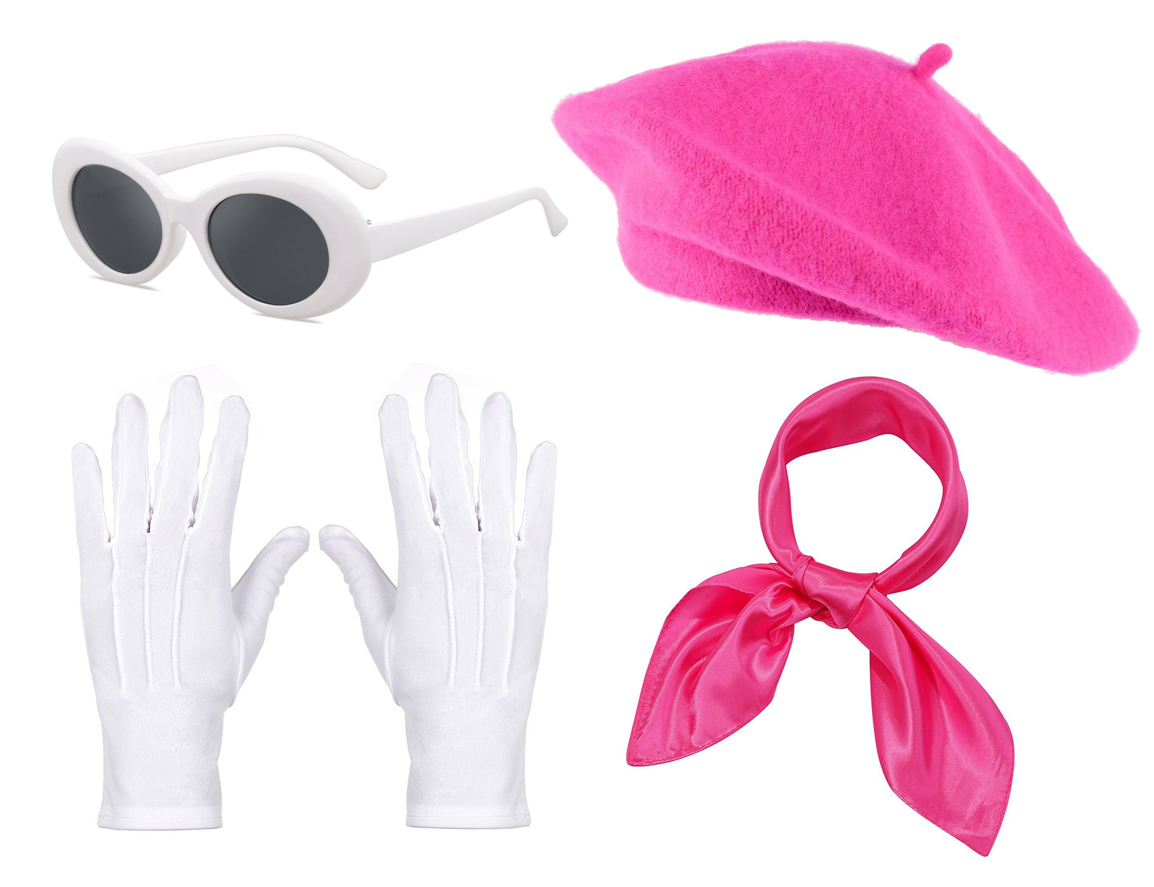 Fancy Clothing Womens French Beret Hat Chiffon Scarf Gloves Sunglasses Costume Accessories (Hot Pink)