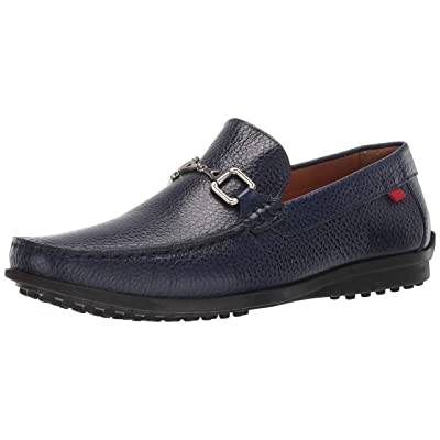 MARC JOSEPH NEW YORK Mens Grainy Leather Carneige Hill Buckle Loafer, Navy, 9.5 M US   Loafers & Slip-Ons