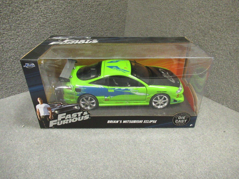 NEW 1 24 W B JADA FAST FURIOUS GREEN BRIAN'S MITSUBISHI ECLIPSE Diecast Model Car By Jada Toys