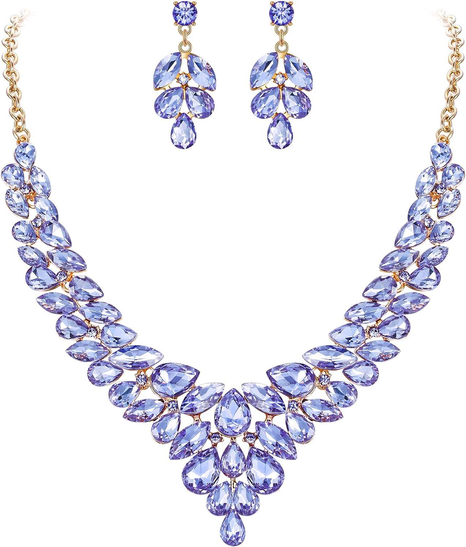 Clearine Femme Parure Vintage Bijoux D/élicat Mariage C/ér/émonie Collier Boucles doreilles Ensemble Cristal Autrichien Toute Goutte deau