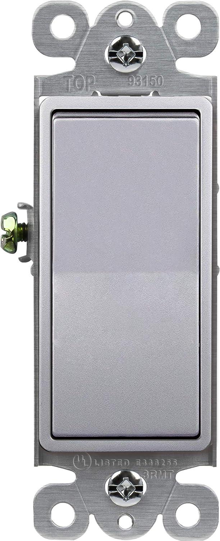 ENERLITES Elite Series Decorator Rocker Light Switch, 15A 120V/277V, Single Pole, 3 Wire, Grounding Screw, Residential Grade, UL Listed, 91150-SV, Silver Color
