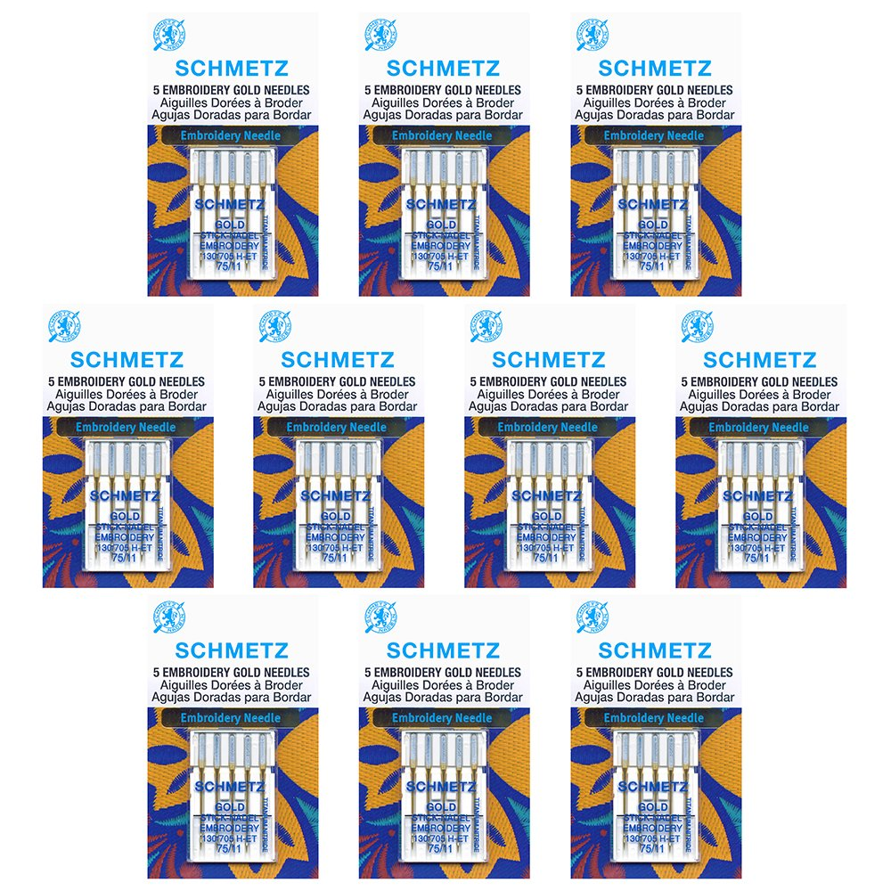 50 Schmetz Gold Embroidery Sewing Machine Needles - size 75/11 - Box of 10 cards by Schmetz