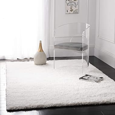Safavieh California Premium Shag Collection SG151-1010 White Area Rug (4' x 6')