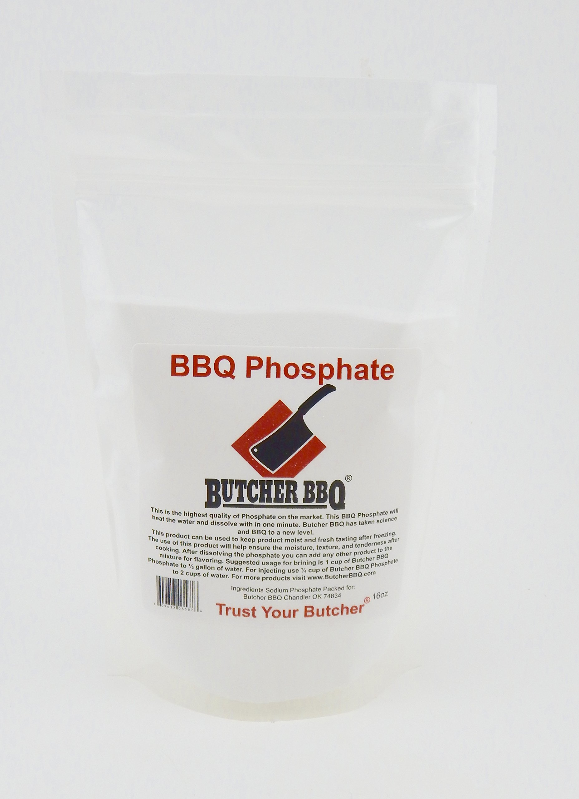 Butcher BBQ Phosphate 1 Pound. What Professional Pit Masters use. The increase in moisture allows it to tenderize.