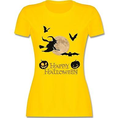 Halloween - Happy Halloween Mond Hexe - S - Gelb - L191 - Damen T-