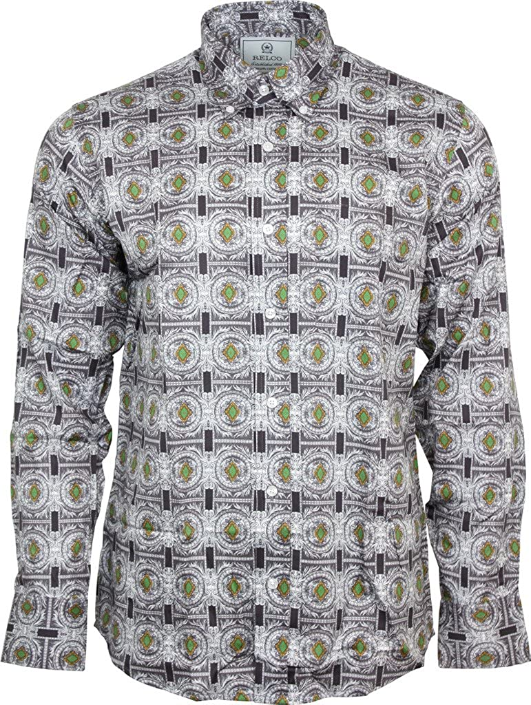 Relco Mens Platinum Navy Floral Long Sleeved Button Down Shirt Mod Skin 60s