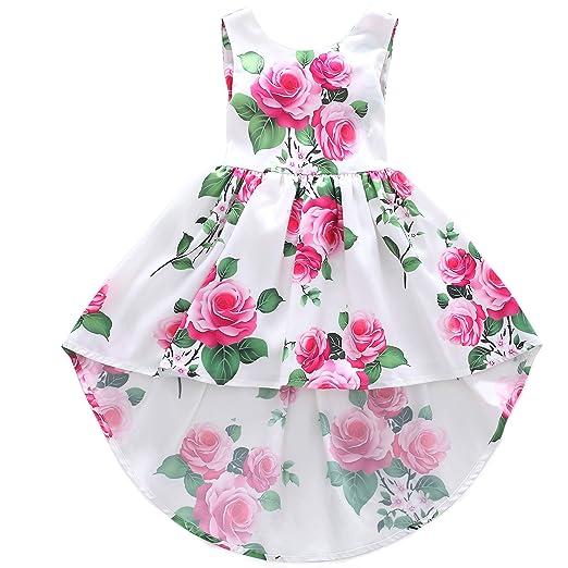 d9b84c941 Amazon.com  Flofallzique Vintage Floral High-Low Girls Dress Toddler ...