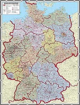 Carte Allemagne Code Postaux.Mappemonde Xxl 1 95 M Original Postleitzahlenkarte Couleurs