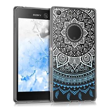 kwmobile Funda para Sony Xperia M5 - Carcasa de TPU para móvil y diseño de Sol hindú en Azul/Blanco/Transparente