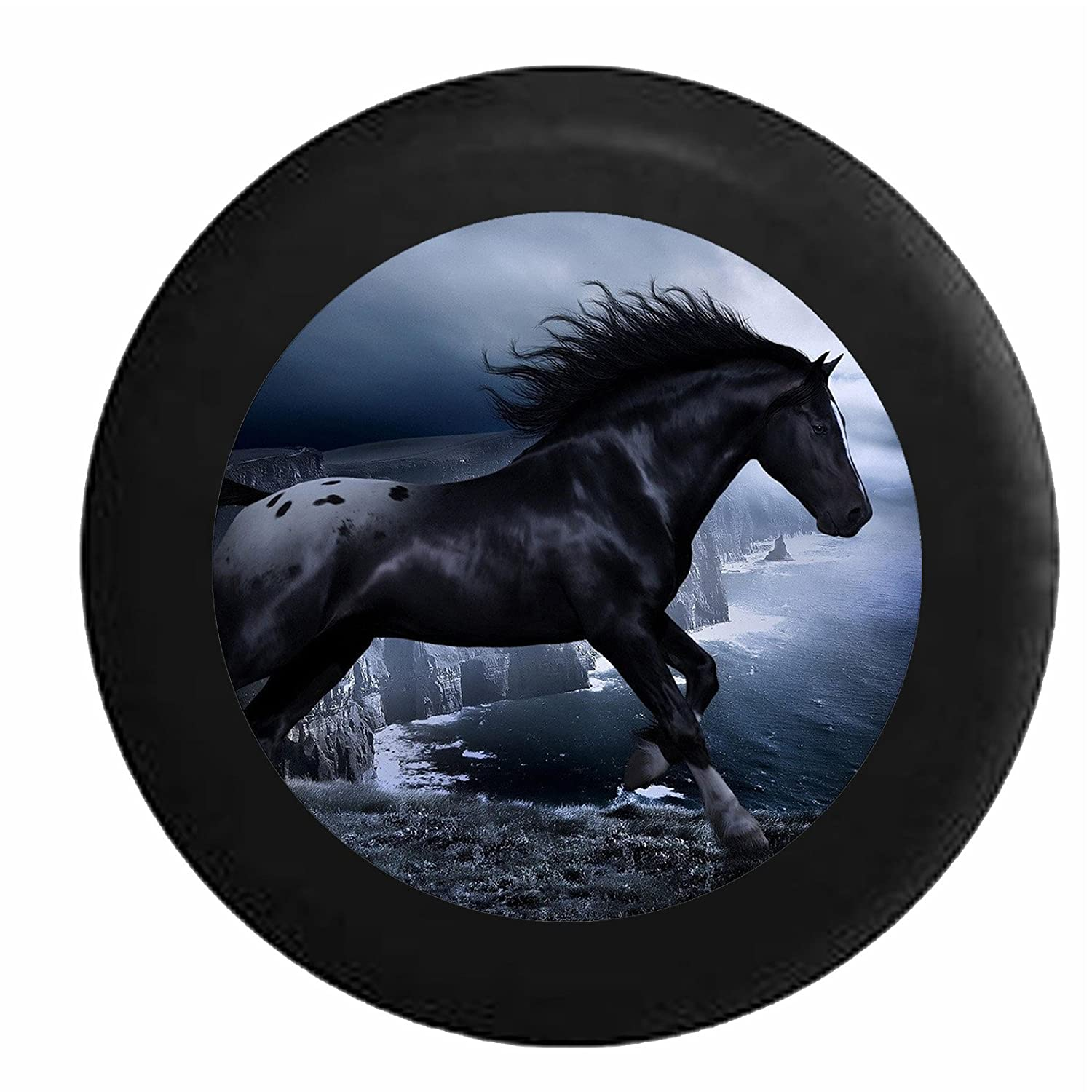 Full Color Stallion Running Free Overlooking Ocean Cliffs Jeep RV Camper Spare Tire Cover Black 33 in Pike Outdoors