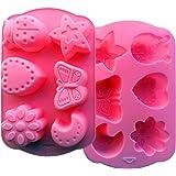 FantasyDay® Stampo in Silicone con 6 Cavità per Cubetti di Ghiaccio, Biscotti, Tortini, Cioccolato, Dolci - Luna e stelle