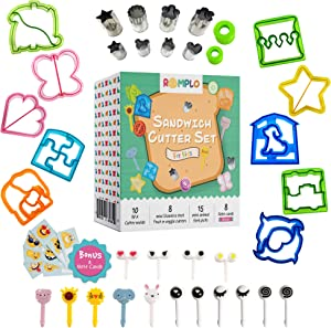Sandwich Cutters for kids – Create Fun & Healthy Bento Lunch Box School Lunches in Minutes - Includes Fruit and Vegetable cutters – Food Picks and Scratch Cards