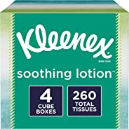 Kleenex Soothing Lotion Facial Tissues, 4 Cube Boxes, 65 Tissues per Box (260 Count Total)