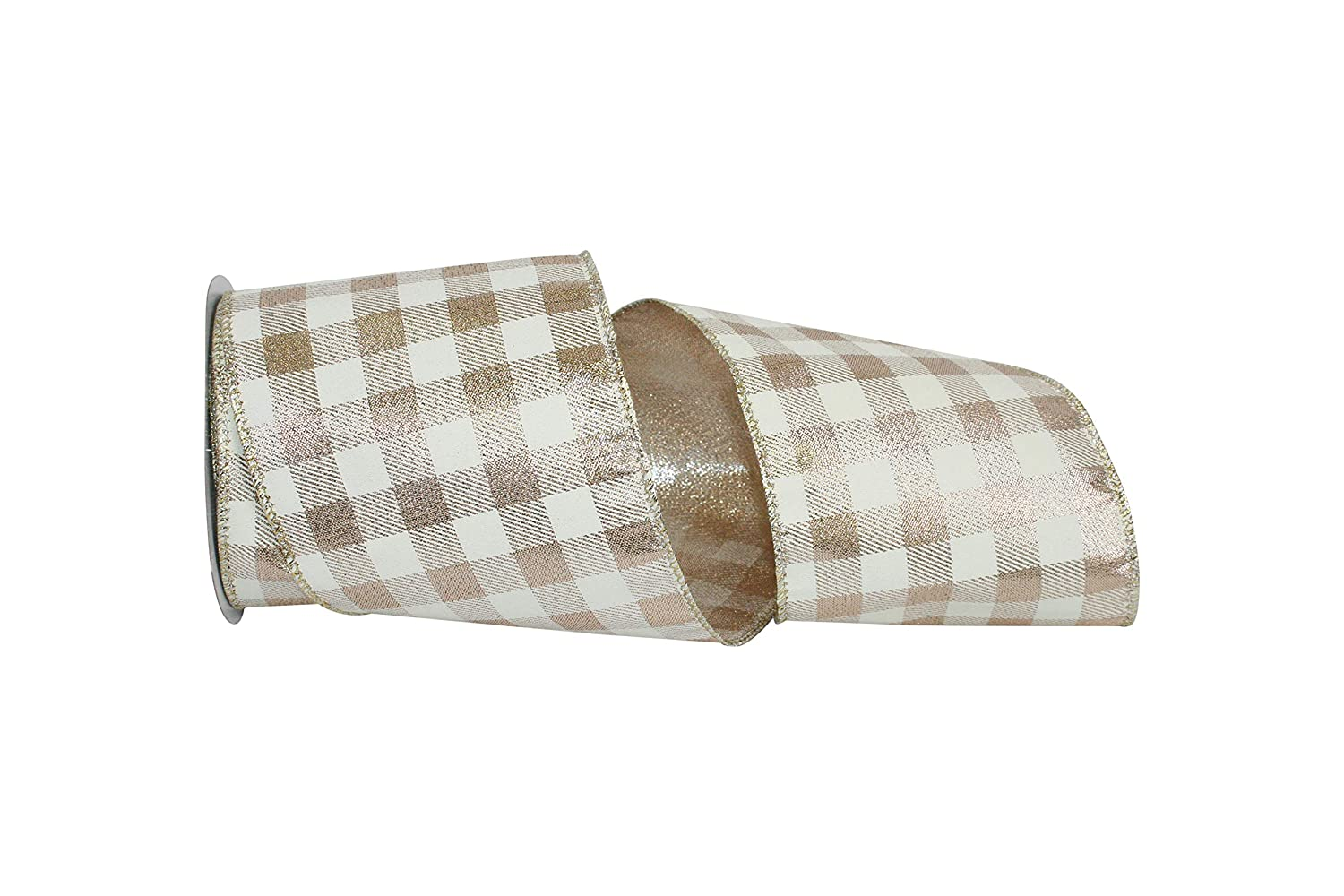 Metallic Gingham Wired Edge Ribbon Various Colors