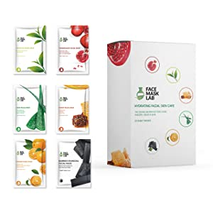 Face Mask Lab - Face Mask [20 Pack Set] Hydrating Facial Skin Care - Collagen Facemasks - Charcoal Peel Off Sheet Masks - Moisturizing and Brightening for Dry, Oily or Acne Skin