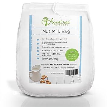 Productos Love Tree bolsa para leche de nueces - El mejor colador orgánico de leche de almendras con calidad premium que incluye un E book de recetas ...