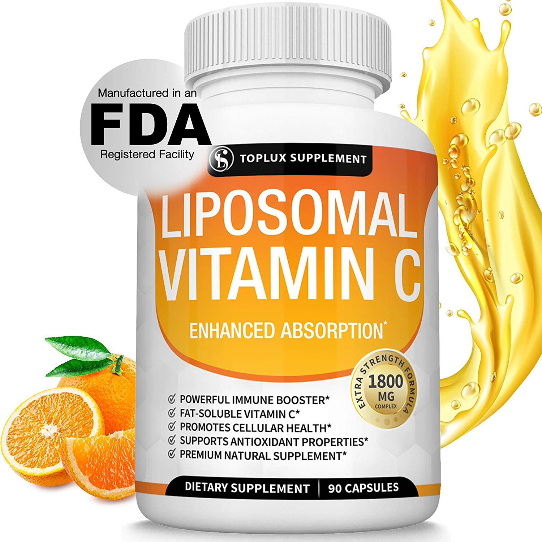 Liposomal Vitamin C 1800mg Pure Natural Supplement - High Absorption Fat Soluble VIT C Immune Support, Collagen Booster, Immunity Defense & Antioxidant, Ascorbic Acid, Anti-Aging Skin, Vegan Non-GMO