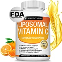 Liposomal Vitamin C 1800mg Pure Natural Supplement - High Absorption Fat Soluble VIT C Immune Support, Collagen Booster, Immunity Defense & Antioxidant, Ascorbic Acid, Anti-Aging Skin, Vegan Non-GMO