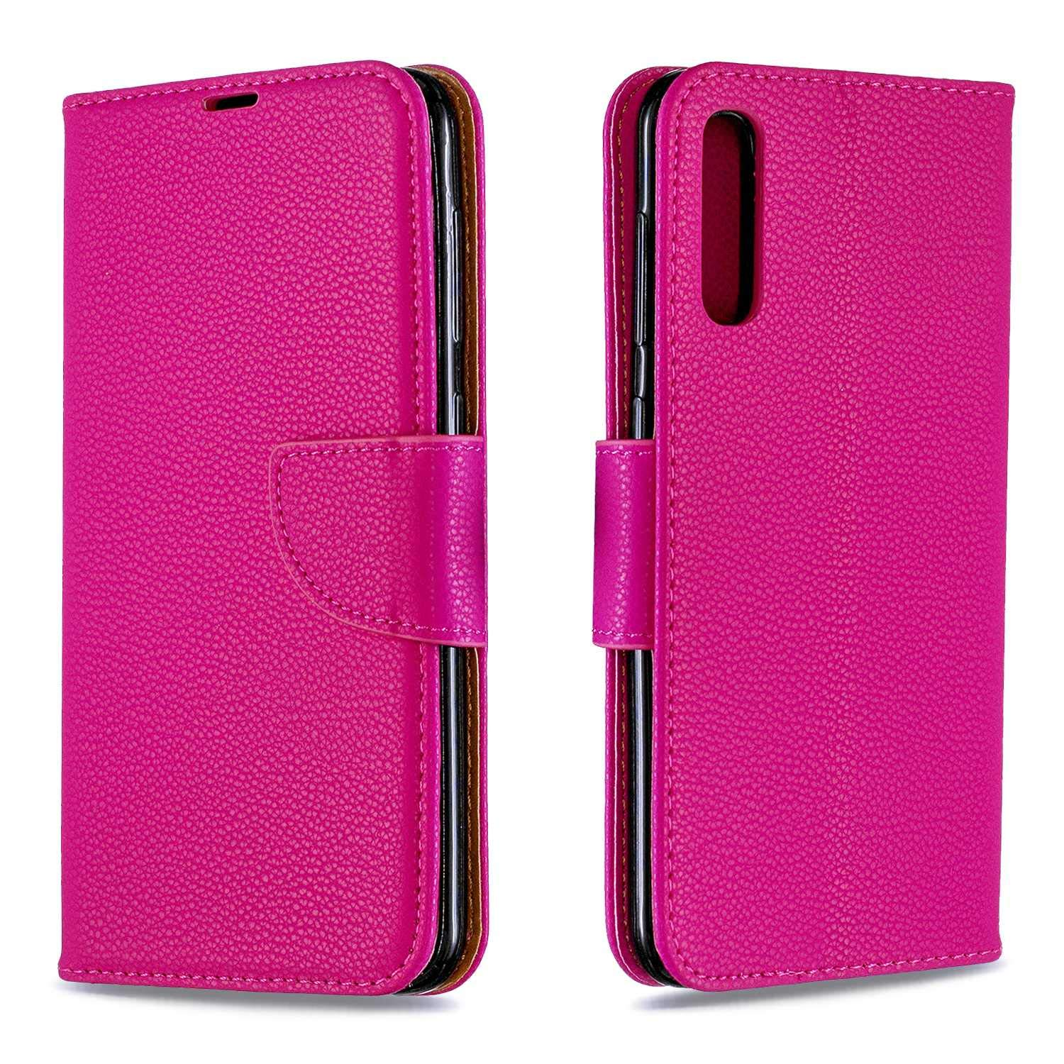 Galaxy A50 Case, Bear Village Premium PU Wallet Protective Case with Kickstand Function, Wrist Strap and Card Slots for Samsung Galaxy A50, Rose Red by Bear Village