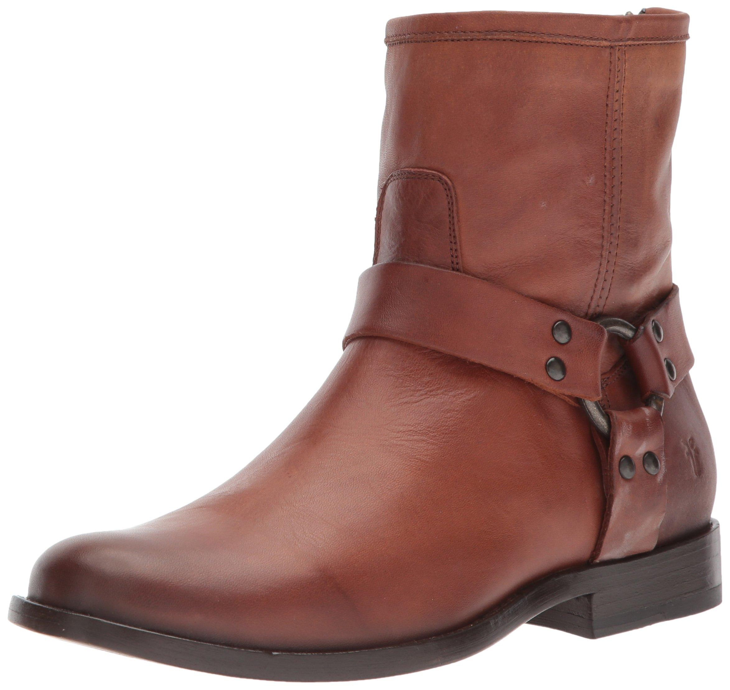 FRYE Women's Phillip Short Harness Boot, Cognac, 9 M US