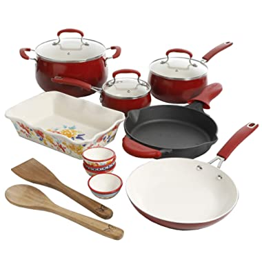 Pioneer Woman 17 Piece Cookware Set - Porcelain Enamel Ceramic Nonstick Aluminum with Cast Iron Skillet (Sunset Red Classic Belly)