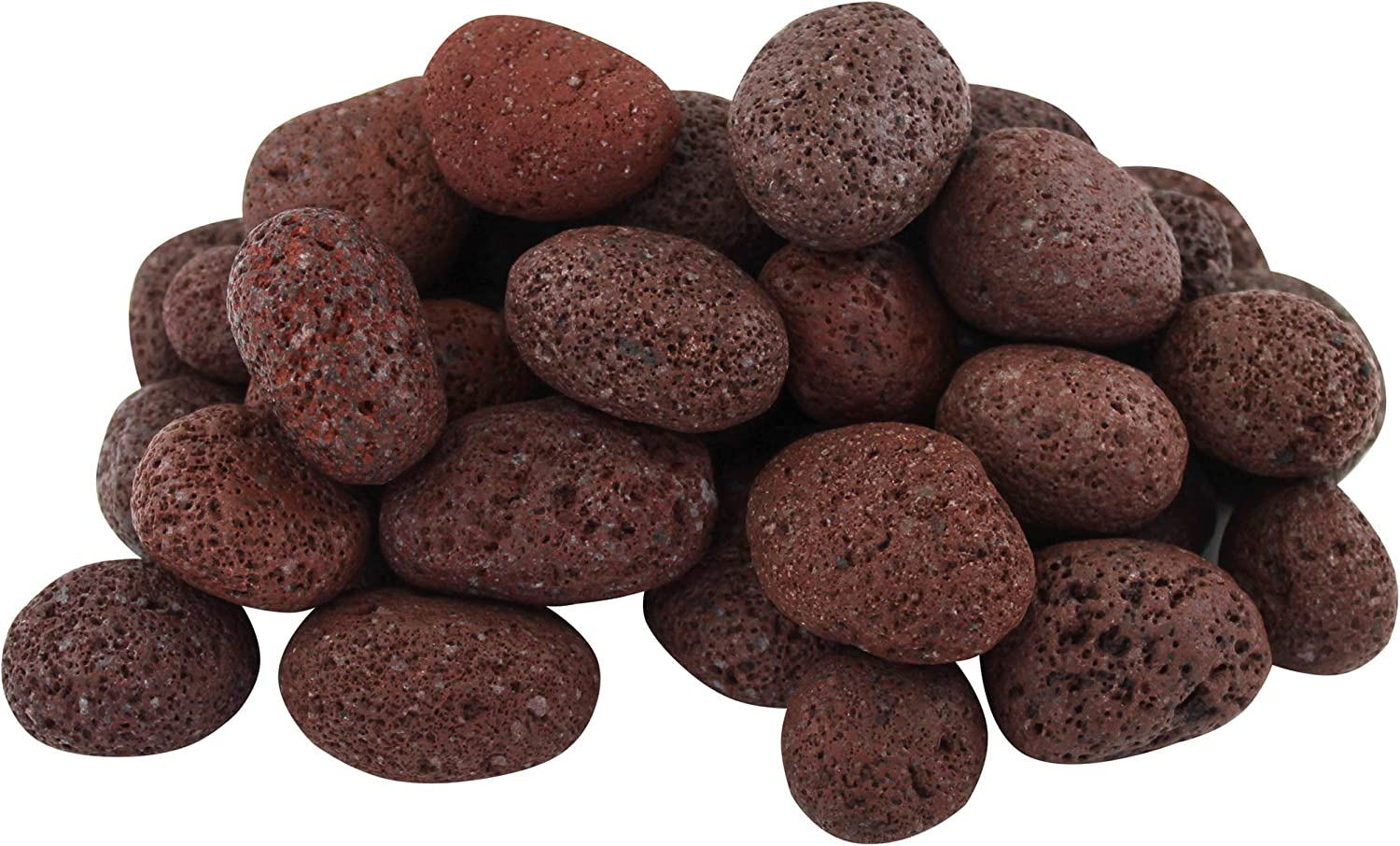 """Margo Garden Products 1"""" 20lbs Lava Pebble Dragon Glass, Red"""
