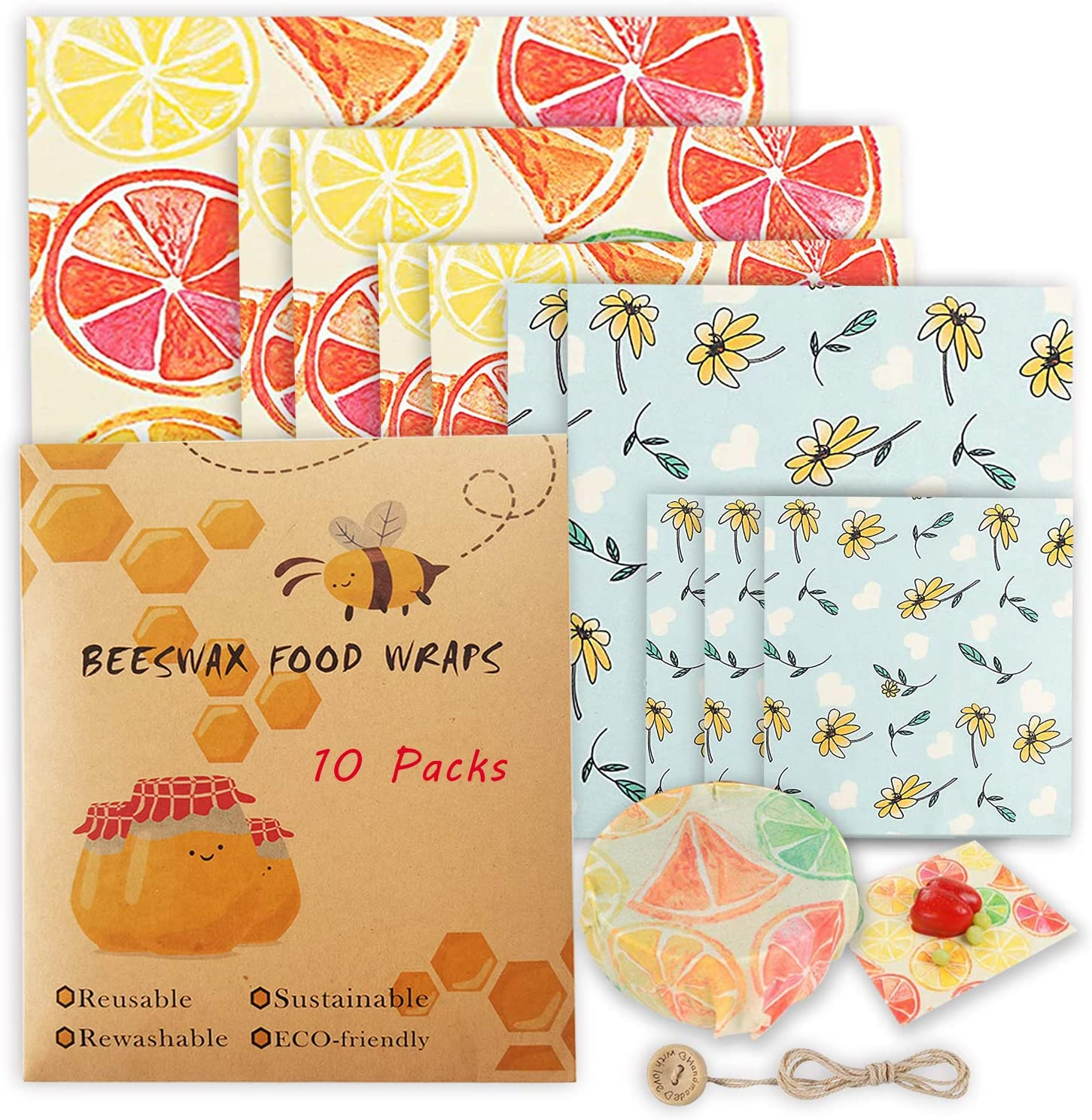 Beeswax Reusable Food Wraps 10 Packs Sustainable Organic Bees Wax Wrap Eco Friendly Plastic-Free for Food Storage, Zero Waste Sandwich Wrappers Bowl Covers (Lemon&Sunflower)