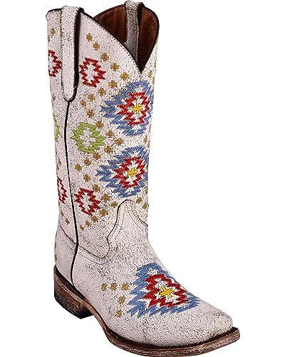 Women's Aztec White Cowgirl Boot Square Toe - 82693-19