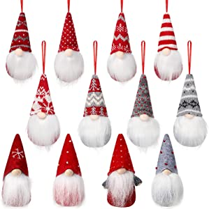 12 Pieces Gnome Christmas Plush Ornaments Christmas Elf Gnome Scandinavian Santa Gnome Plush Christmas Tree Hanging Gnomes Handmade Swedish Gnomes Ornaments Plush Home Holiday Decorations