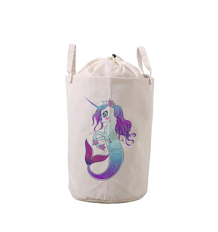 LifeCustomize Large Laundry Basket Hamper Fairy Magic Unicorn Collapsible Drawstring Storage Baskets Nursery Baby Toy Organizer